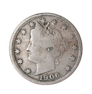 Moeda Antiga dos Estados Unidos V Cents 1906 - Liberty Nickel