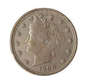 Moeda Antiga dos Estados Unidos Five Cents 1909 - Liberty Nickel