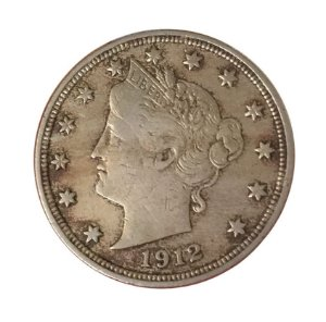 Moeda Antiga dos Estados Unidos Five Cents 1912 - Liberty Nickel