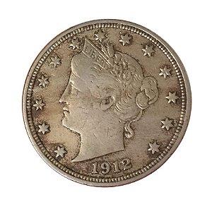 Moeda Antiga dos Estados Unidos Five Cents 1912 - Liberty Nickel