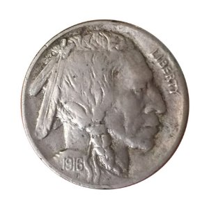 Moeda Antiga dos Estados Unidos Five Cents 1916 - Buffalo Nickel