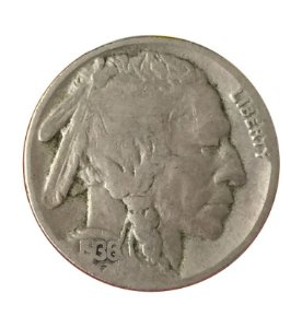 Moeda Antiga dos Estados Unidos Five Cents 1936 - Buffalo Nickel