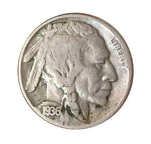Moeda Antiga dos Estados Unidos Five Cents 1936 - Buffalo Nickel