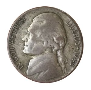 Moeda Antiga dos Estados Unidos Five Cents 1943 P - Jefferson Nickel