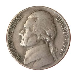 Moeda Antiga dos Estados Unidos Five Cents 1946 - Jefferson Nickel