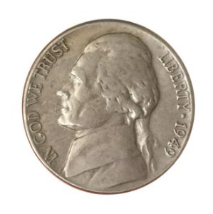 Moeda Antiga dos Estados Unidos Five Cents 1949 - Jefferson Nickel