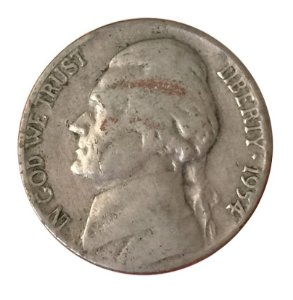 Moeda Antiga dos Estados Unidos Five Cents 1954 D - Jefferson Nickel