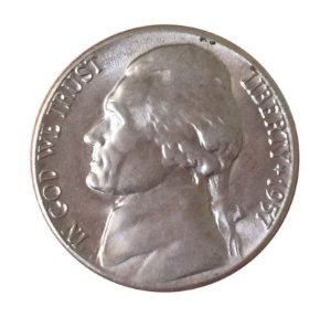Moeda Antiga dos Estados Unidos Five Cents 1957 D - Jefferson Nickel