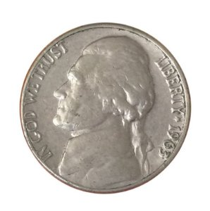 Moeda Antiga dos Estados Unidos Five Cents 1963 D - Jefferson Nickel