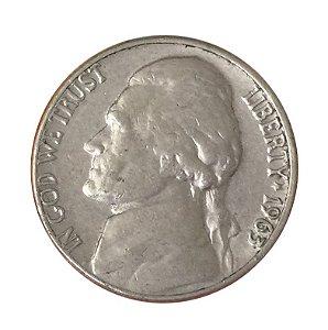 Moeda Antiga dos Estados Unidos Five Cents 1963 D - Jefferson Nickel