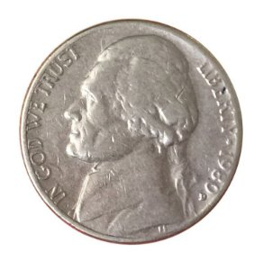 Moeda Antiga dos Estados Unidos Five Cents 1980 D - Jefferson Nickel