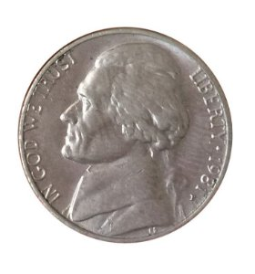 Moeda Antiga dos Estados Unidos Five Cents 1981 P - Jefferson Nickel