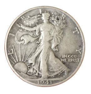 Moeda Antiga dos Estados Unidos Half Dollar 1941 - Walking Liberty