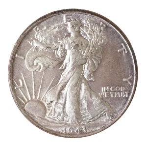 Moeda Antiga dos Estados Unidos Half Dollar 1943 - Walking Liberty