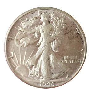 Moeda Antiga dos Estados Unidos Half Dollar 1944 - Walking Liberty