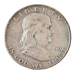 Moeda Antiga dos Estados Unidos Franklin Half Dollar 1950