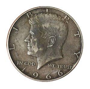 Moeda Antiga dos Estados Unidos Kennedy Half Dollar 1966