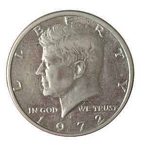 Moeda Antiga dos Estados Unidos Kennedy Half Dollar 1972 D