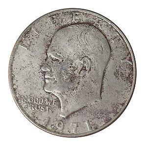 Moeda Antiga dos Estados Unidos Eisenhower Dollar 1971