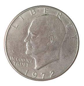 Moeda Antiga dos Estados Unidos Eisenhower Dollar 1972 D