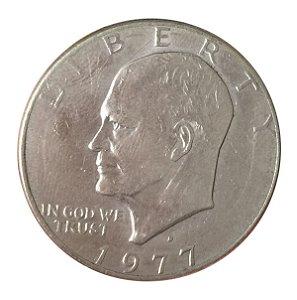 Moeda Antiga dos Estados Unidos Eisenhower Dollar 1977 D