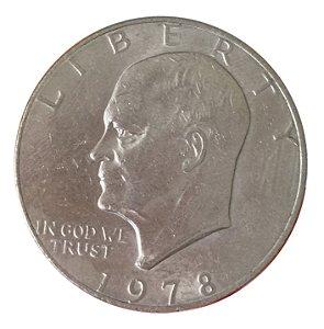 Moeda Antiga dos Estados Unidos Eisenhower Dollar 1978