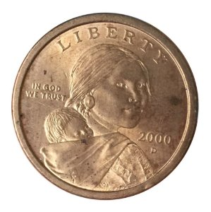 Moeda Antiga dos Estados Unidos $1 2000 D - Sacagawea