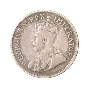 Moeda Antiga da África do Sul 3 Pence 1932