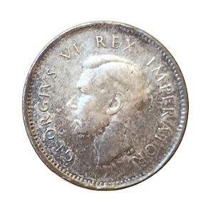 Moeda Antiga da África do Sul 3 Pence 1942