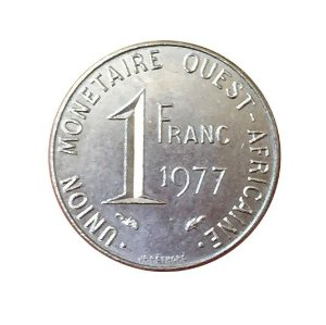 Moeda Antiga do West African States 1 Franc 1977