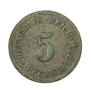 Moeda Antiga da Alemanha 5 Pfennig 1908 A