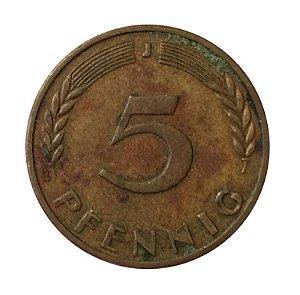 Moeda Antiga da Alemanha 5 Pfennig 1969 J