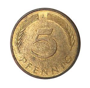 Moeda Antiga da Alemanha 5 Pfennig 1983 J