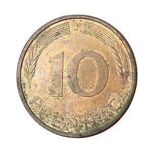 Moeda Antiga da Alemanha 10 Pfennig 1992 J