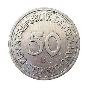 Moeda Antiga da Alemanha 50 Pfennig 1982 D