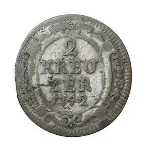Moeda Antiga da Alemanha 2 Kreuzer (1/2 Batzen) 1742