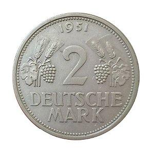 Moeda Antiga da Alemanha 2 Deutsche Mark 1951 F