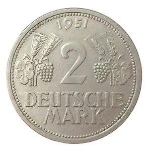 Moeda Antiga da Alemanha 2 Deutsche Mark 1951 G