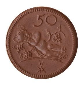 Moeda Antiga da Alemanha de porcelana, Münsterberg (Schlesien) 50 Pfennig