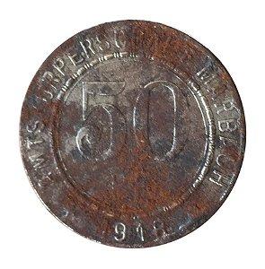 Moeda Antiga da Alemanha 50 Pfennig 1918