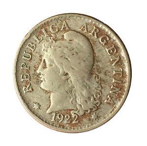 Moeda Antiga da Argentina 5 Centavos 1922