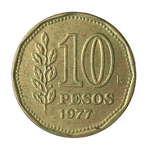 Moeda Antiga da Argentina 10 Pesos 1977