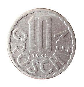 Moeda Antiga da Áustria 10 Groschen 1988