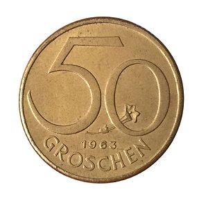 Moeda Antiga da Áustria 50 Groschen 1963