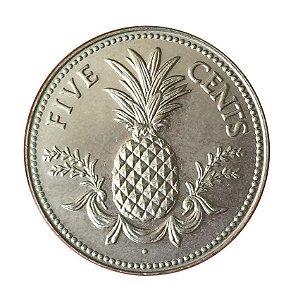 Moeda Antiga de Bahamas 5 Cents 1984