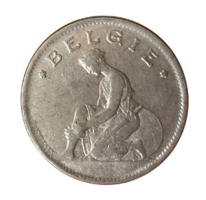 Moeda Antiga da Bélgica 1 Franc 1923