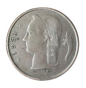 Moeda Antiga da Bélgica 1 Franc 1953