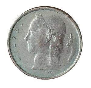 Moeda Antiga da Bélgica 1 Franc 1975