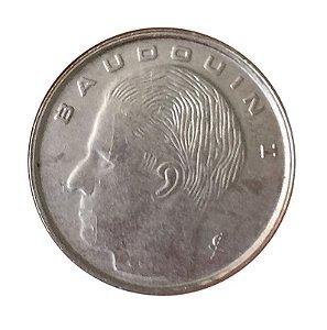 Moeda Antiga da Bélgica 1 Franc 1989 - Baudouin I