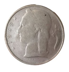 Moeda Antiga da Bélgica 5 Francs 1949 - BELGIE